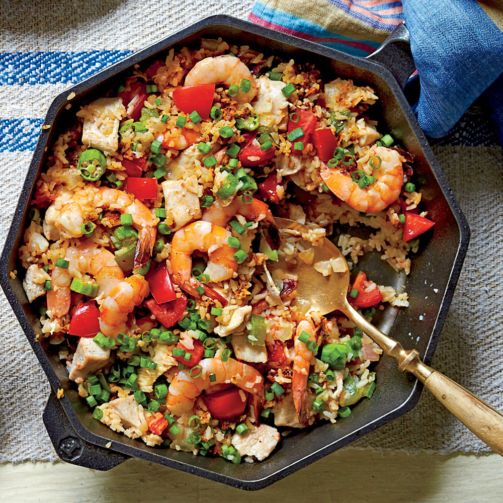 Chicken and Shrimp Skillet Rice