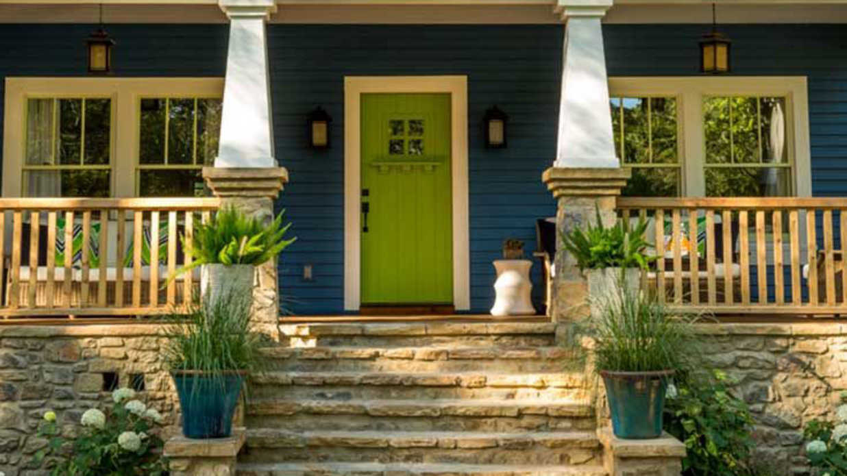 What to know before painting your front door bright green - Test exterior paint colors online ...
