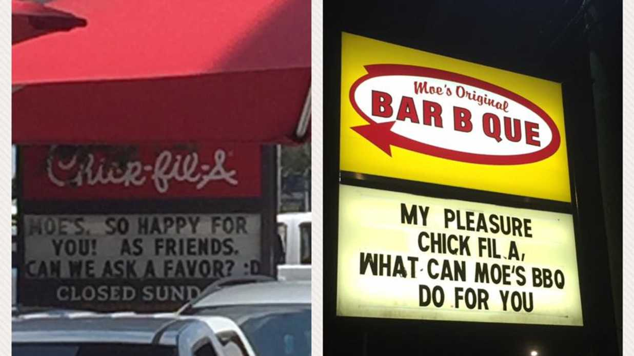 Funny Street Signs >> Moe's Bar B Que and Chick-fil-A in Mobile Are Having The Funniest Sign Feud - Southern Living