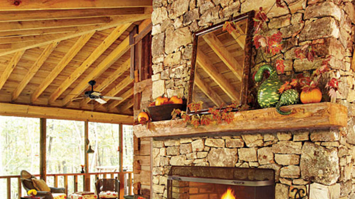 Autumnal Fireplace - Fall's Best Outdoor Rooms - Southern ... on Southern Outdoor Living id=22947