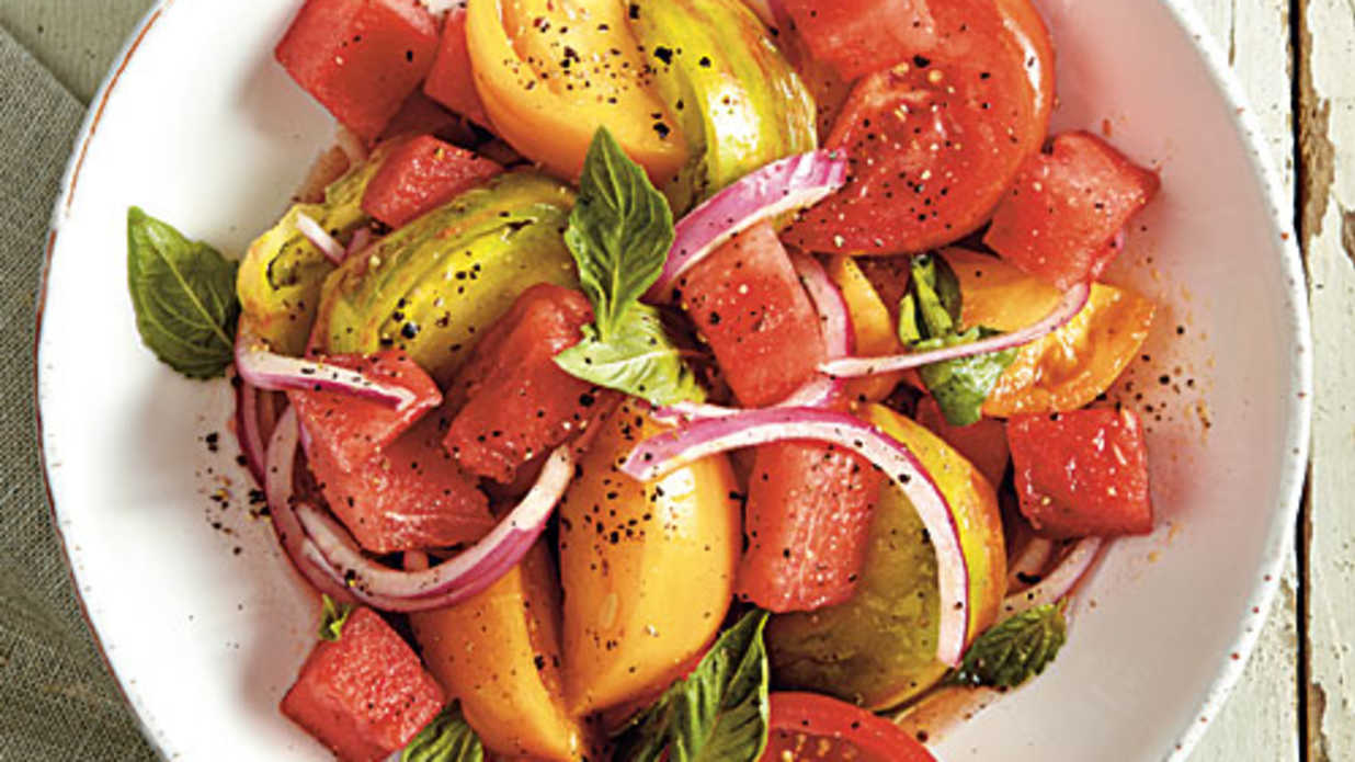 Tomato and watermelon salad no cook appetizer and salad for No cook appetizers for thanksgiving