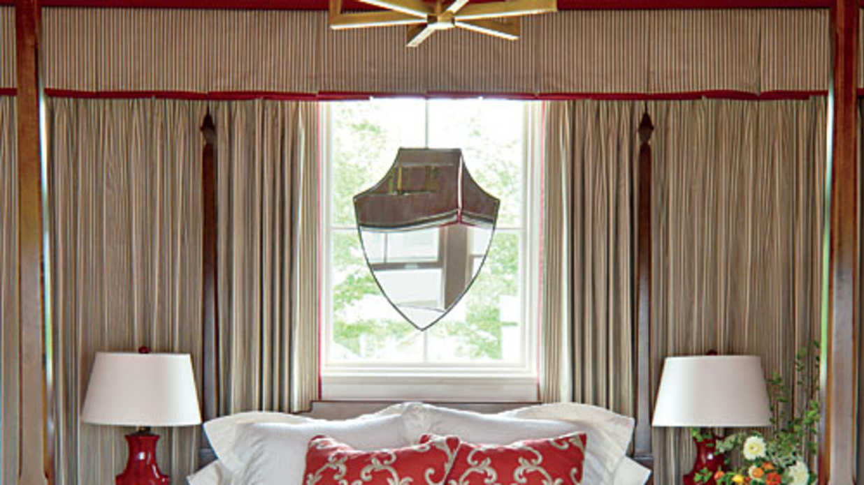Tips for bedroom window treatments southern living for Cost of blinds for 3 bedroom house