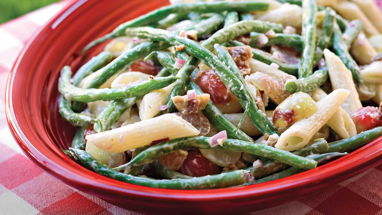 Green bean grape and pasta toss our best barbecue side for Side dishes to go with smoked chicken