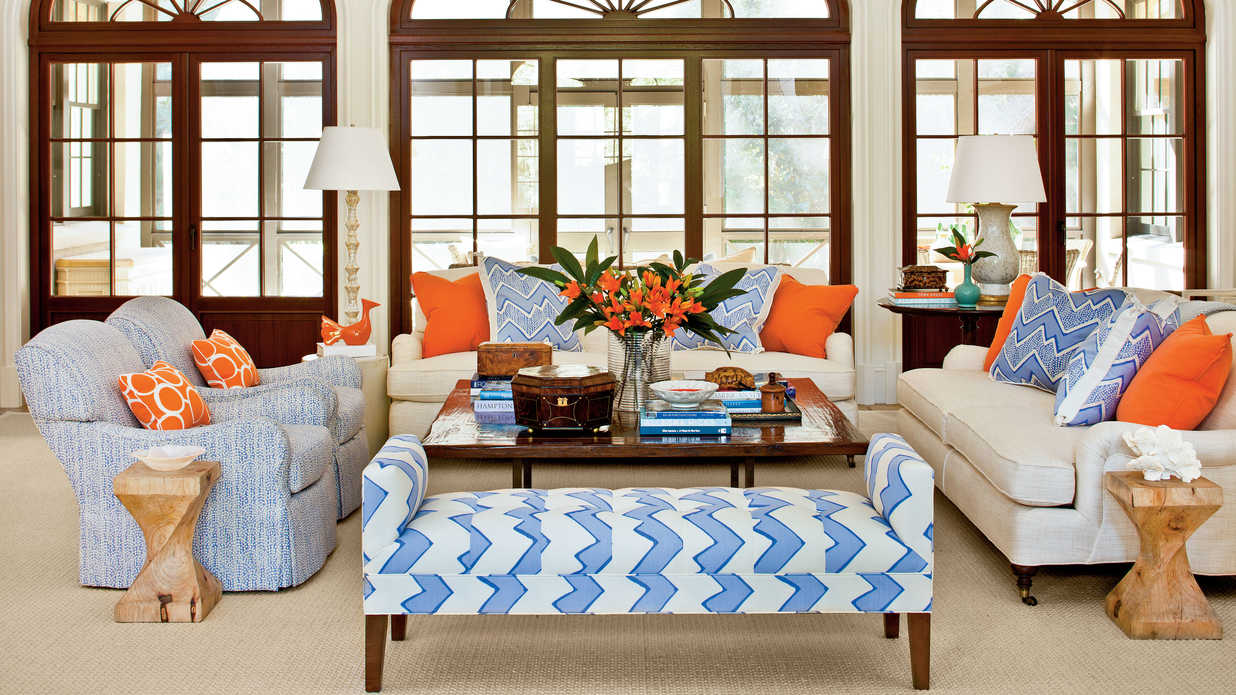 Mix up the seating 106 living room decorating ideas - Blue and orange living room decor ...