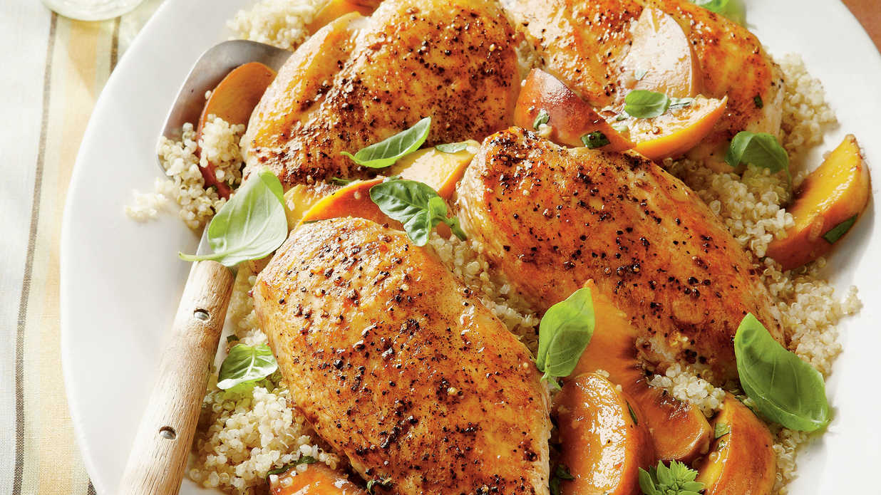 Basil-Peach Chicken Breasts - Summer Peach Recipes - Southern Living