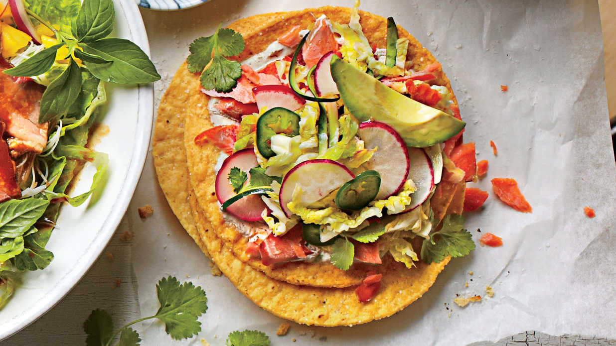 Salmon Tostadas with Zucchini-Radish Slaw - Homegrown Summer Squash ...