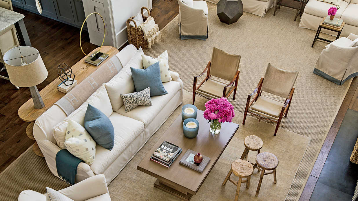 Palmetto bluff living room video tour southern living - Multiple seating areas in living room ...