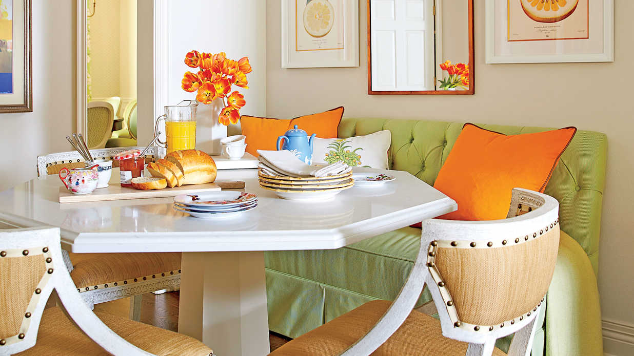 Colorful breakfast nook   eat in kitchen design ideas   southern ...