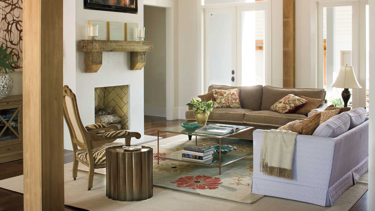 Bold living room bayou bend idea house tour southern for Matching living room furniture