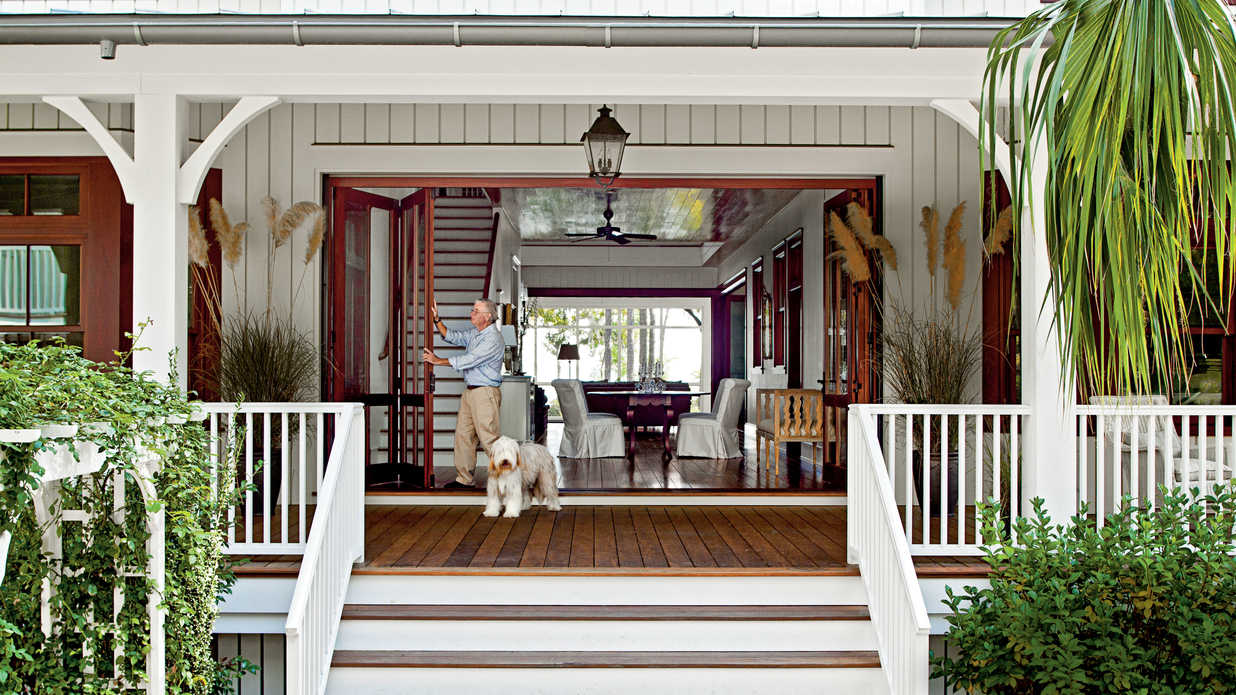 Entry lowcountry style house southern living for Dog trot house plans southern living