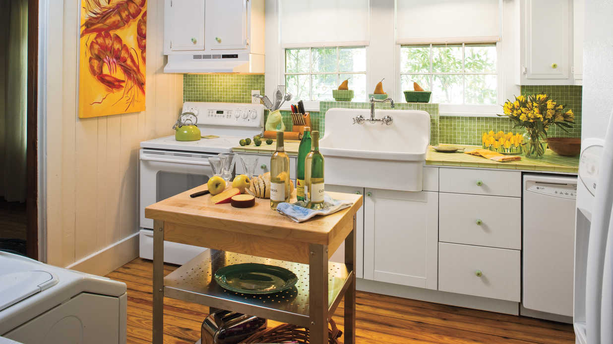Create a 1930s style kitchen southern living for Kitchen colors with white cabinets with mermaid outdoor wall art