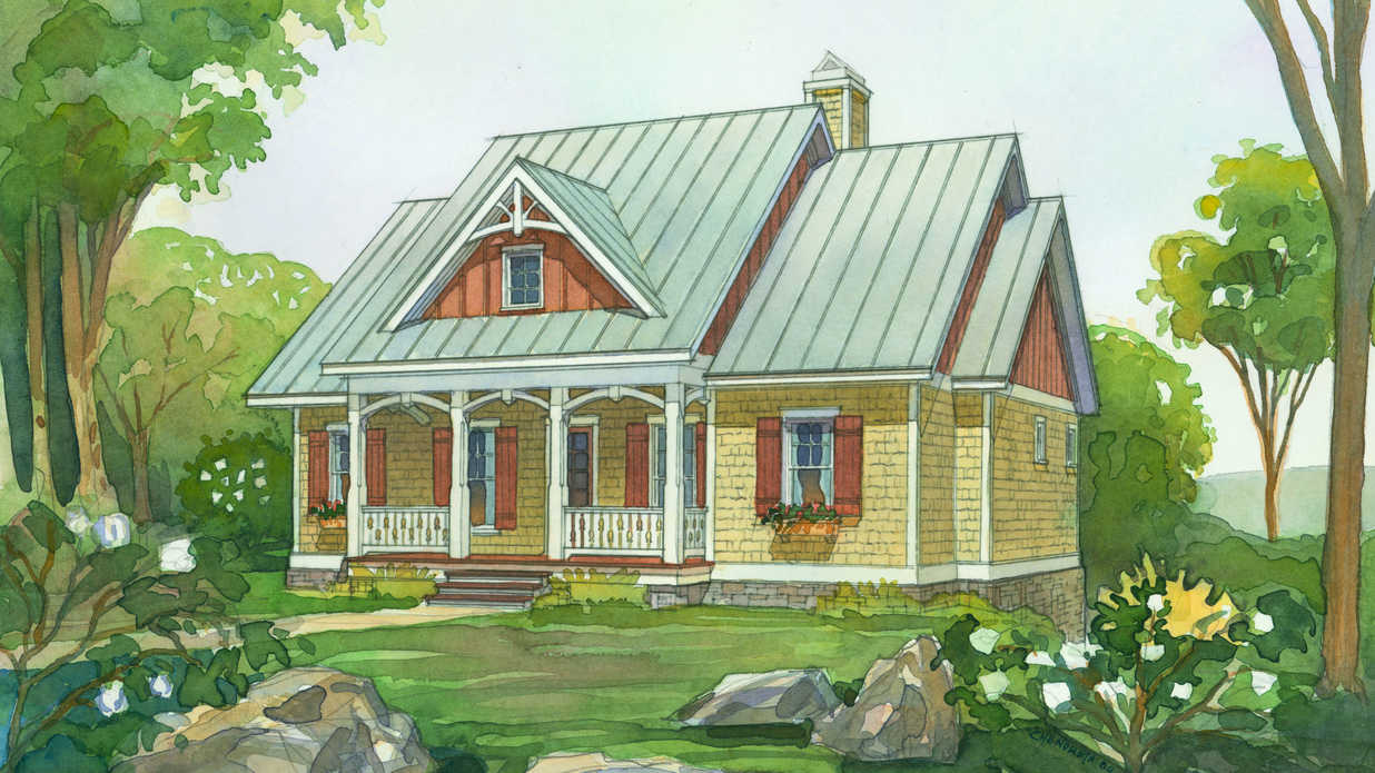 1575 chenoweeth watercolor rendering slm5 fin1 1 - 10+ Small American House Design Images Images