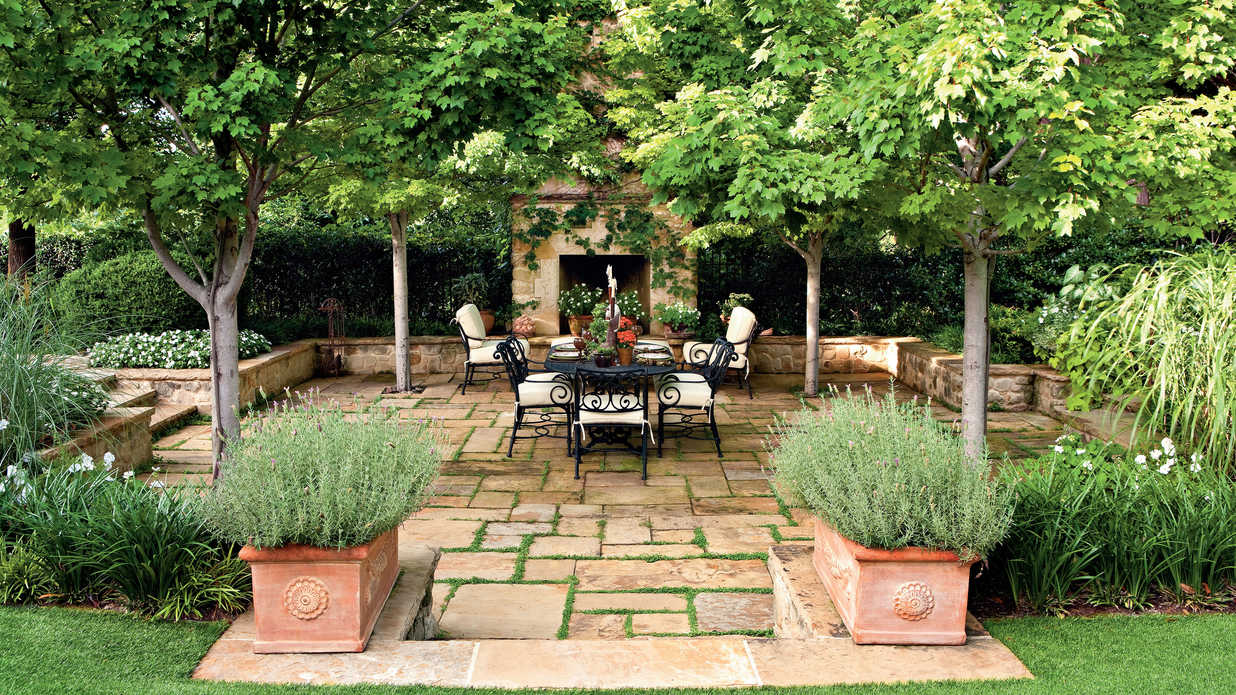 Garden oasis patio porch and patio design inspiration southern living - House plans with pools outdoor sitting and beautiful garden ...