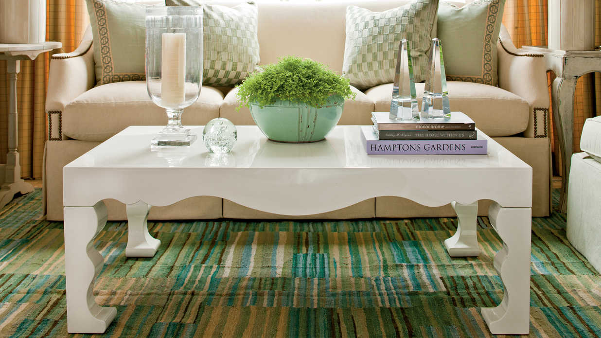 Coffee Table Centerpiece Ideas how to decorate a coffee table - southern living