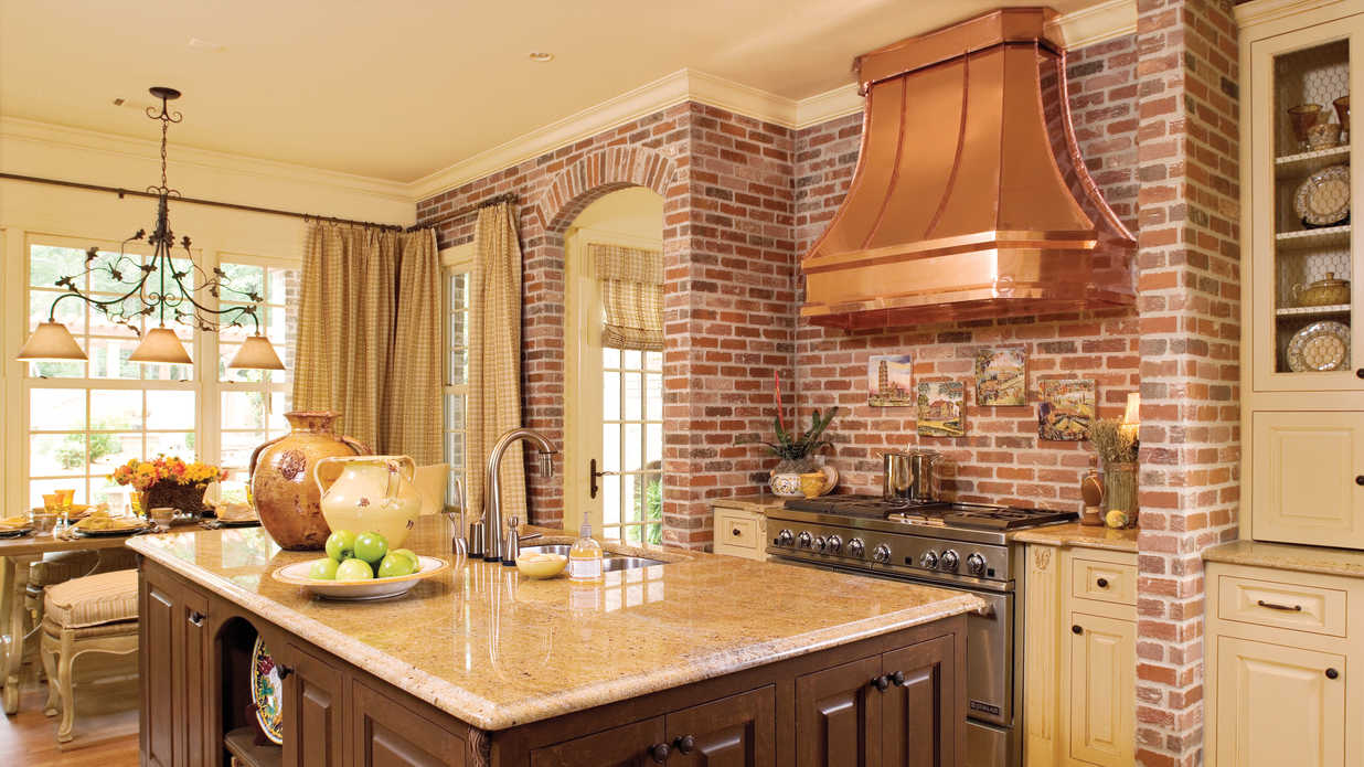 Brick and copper kitchen idea house kitchen design ideas for Southern style kitchen ideas