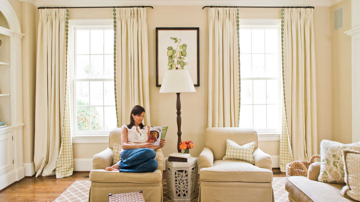 Window treatments southern living - Living room picture window treatments ...