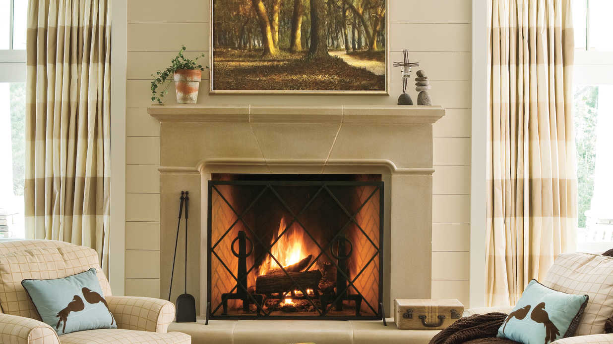 25 cozy ideas for fireplace mantels southern living rh southernliving com Fireplace Mantels Over Brick Log Cabin Fireplaces