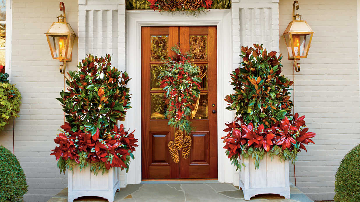 christmas and holiday decorating ideas front doors and wreaths southern living - How To Decorate Front Porch For Christmas