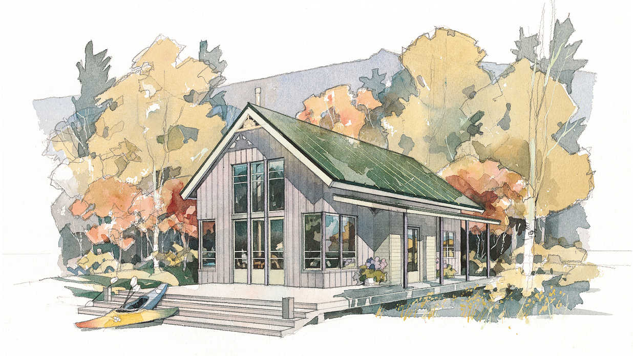 Shoreline cottage plan 490 cabins cottages under for Cottages under 1000 square feet