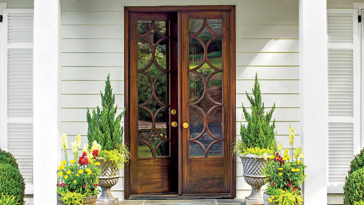 Stylish looks for front entry doors southern living for French doors front of house