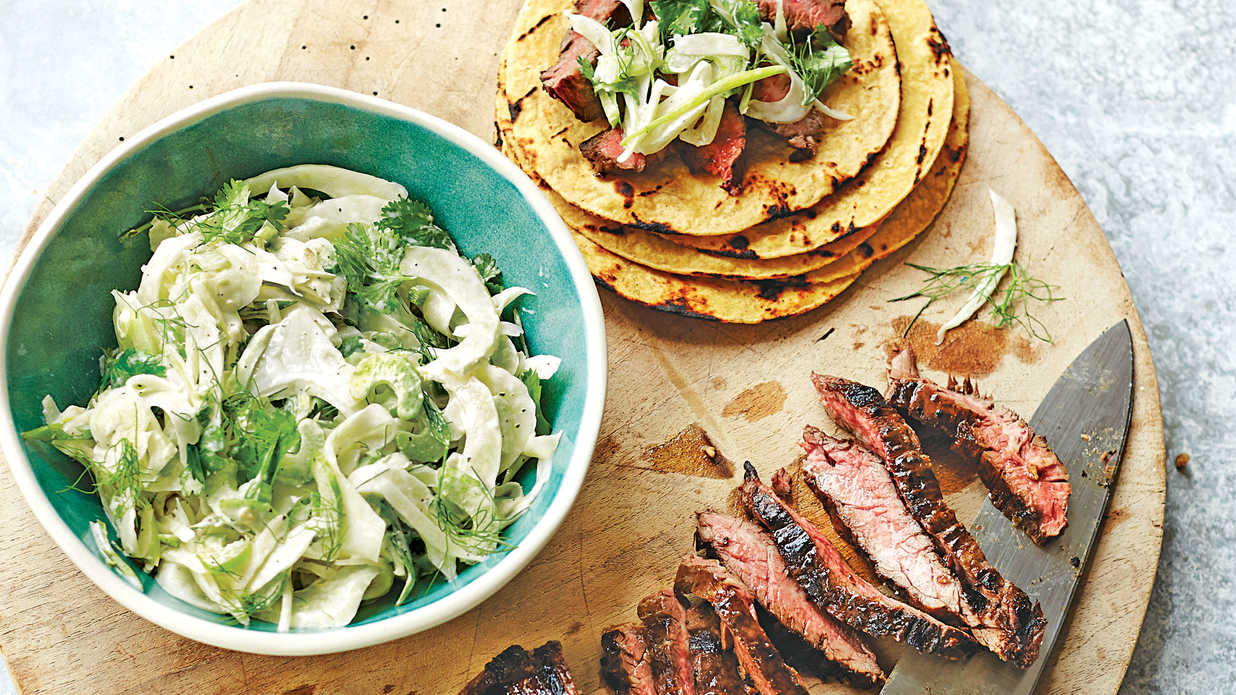Skirt steak with fennel slaw may 2016 recipes southern living Bhg recipes may 2016