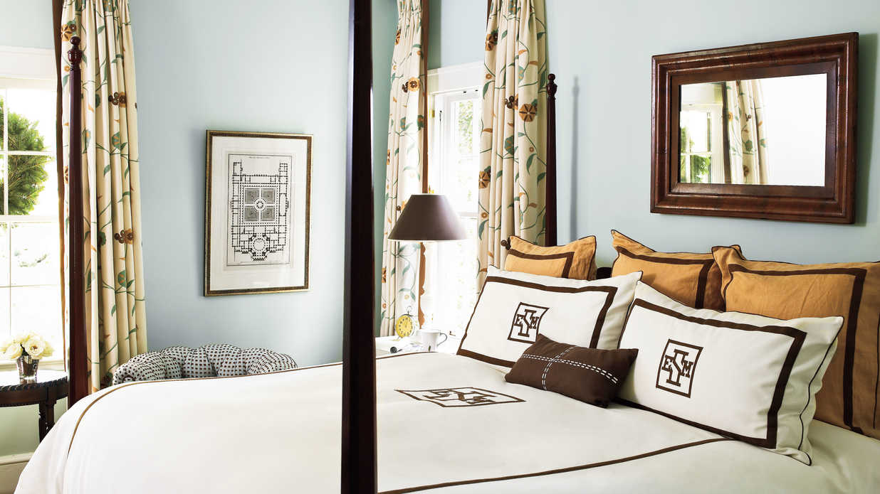 interesting blue brown master bedroom ideas | Chocolate and Blue - Beautiful Blue Bedrooms - Southern Living