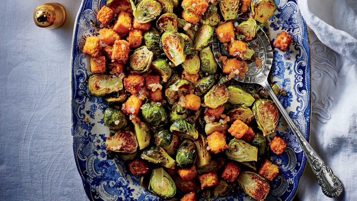Brussels Sprouts With Cornbread Croutons Recipe Southern