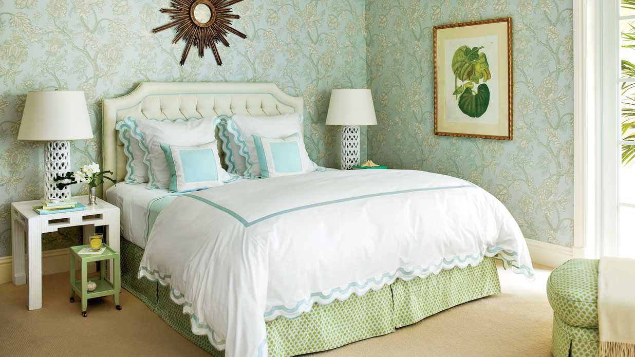10 tricks to make your bedroom feel extra cozy southern 17388 | blue green wallpaper master bedroom 2266801 ashle 088 sg itok hokyco y
