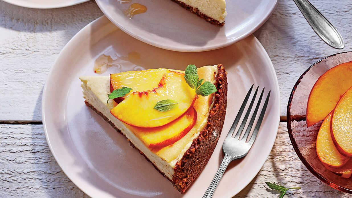 Peach-Ricotta Cheesecake with Pecan Crust Recipe