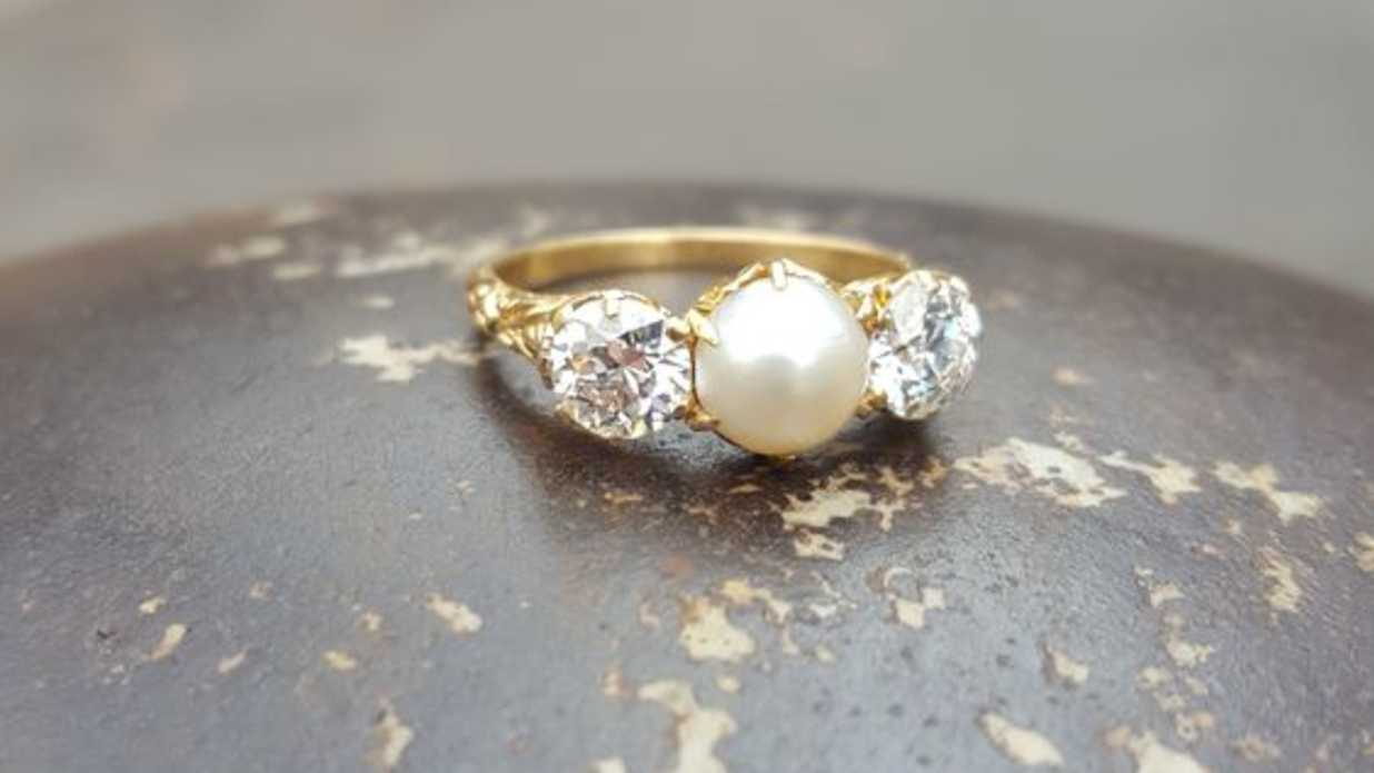 engagement and ring rings pearls hand pearl custom white diamond halo