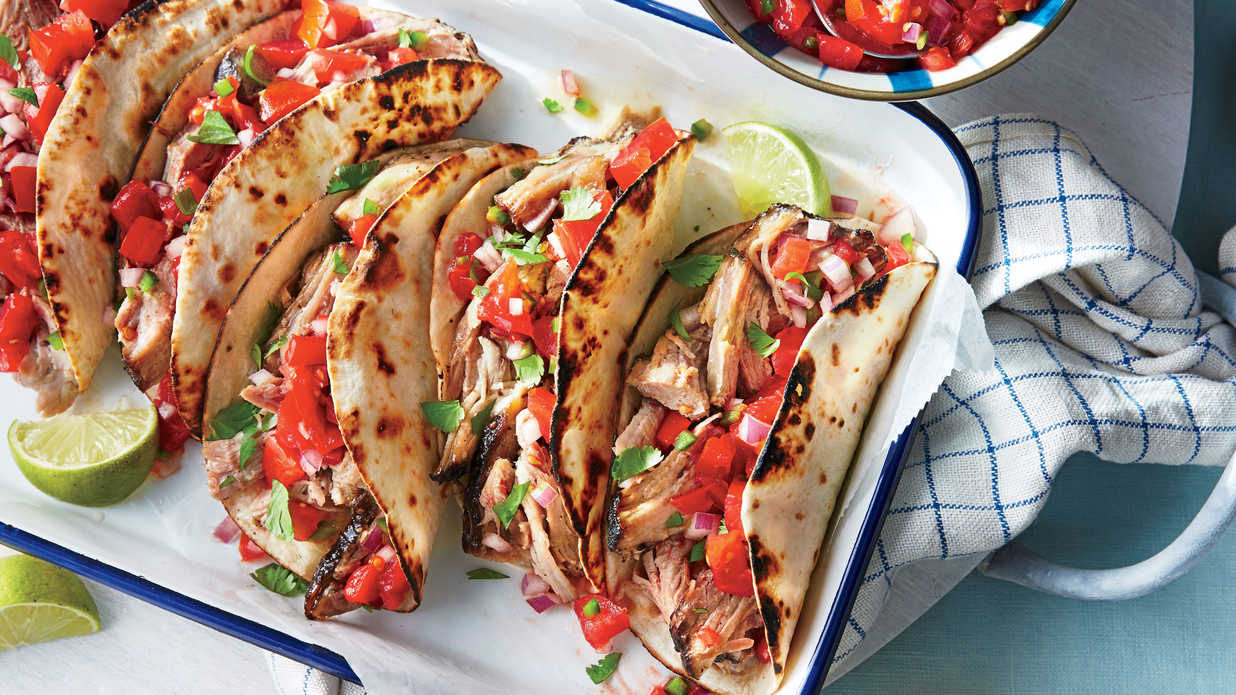Slow-Cooker Pork Tacos with Fresh Tomato Salsa Recipe