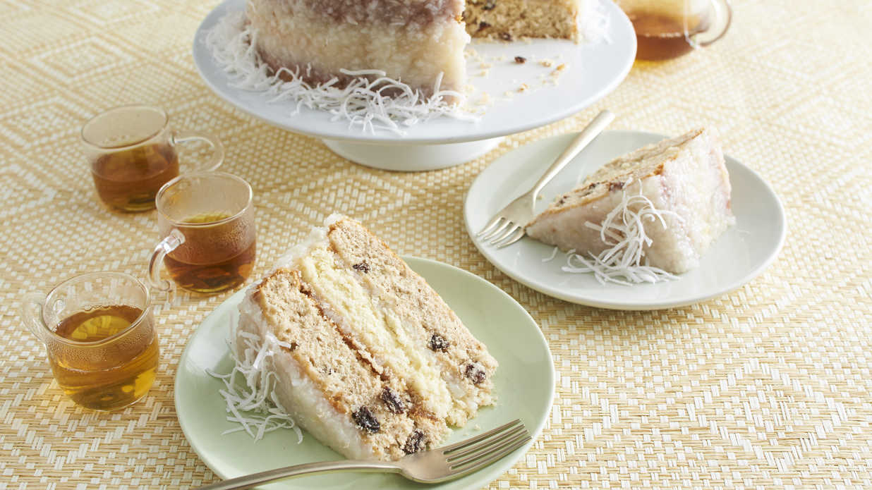 Japanese Fruitcake with Lemon-Coconut Frosting Recipe