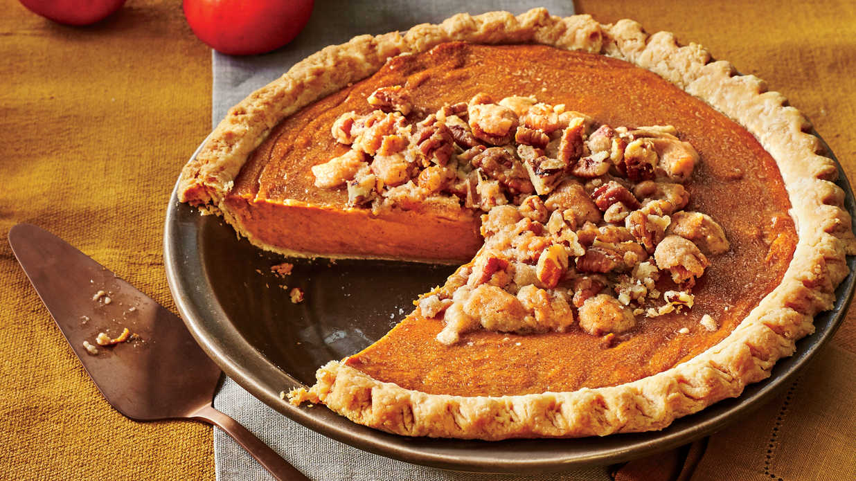 persimmon pie with pecan streusel recipe southern living