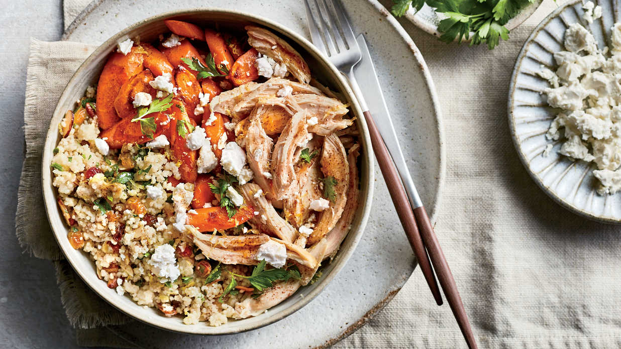Couscous Pilaf with Roasted Carrots, Chicken, and Feta Recipe
