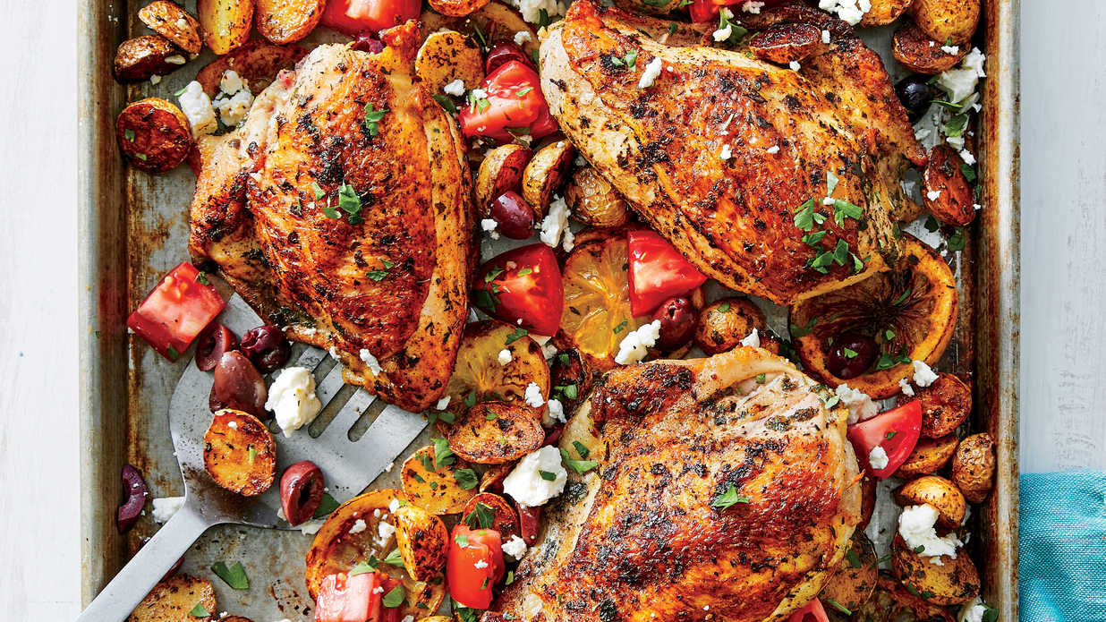 Sheet Pan Greek Chicken With Roasted Potatoes Recipe Southern Living