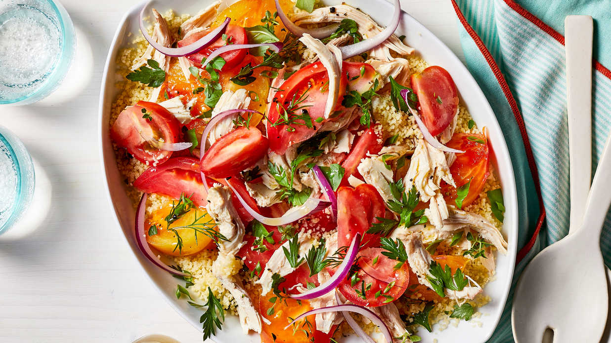 Heirloom Tomato Salad with Chicken and Couscous Recipe