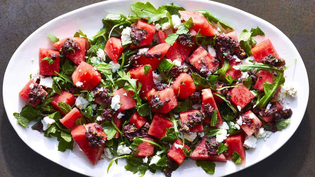 Watermelon Salad with Kalamata Olive Vinaigrette Recipe