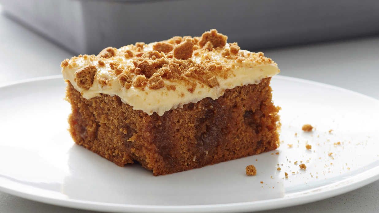 Salted Caramel Gingerbread Poke Cake with Pumpkin Cream Cheese Frosting Recipe