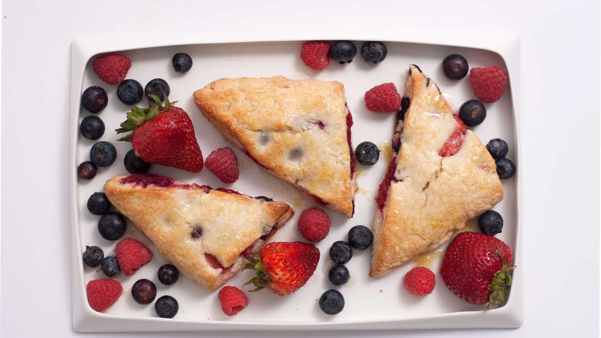 Mixed Berry Scones With Lemon Ginger Glaze Recipe
