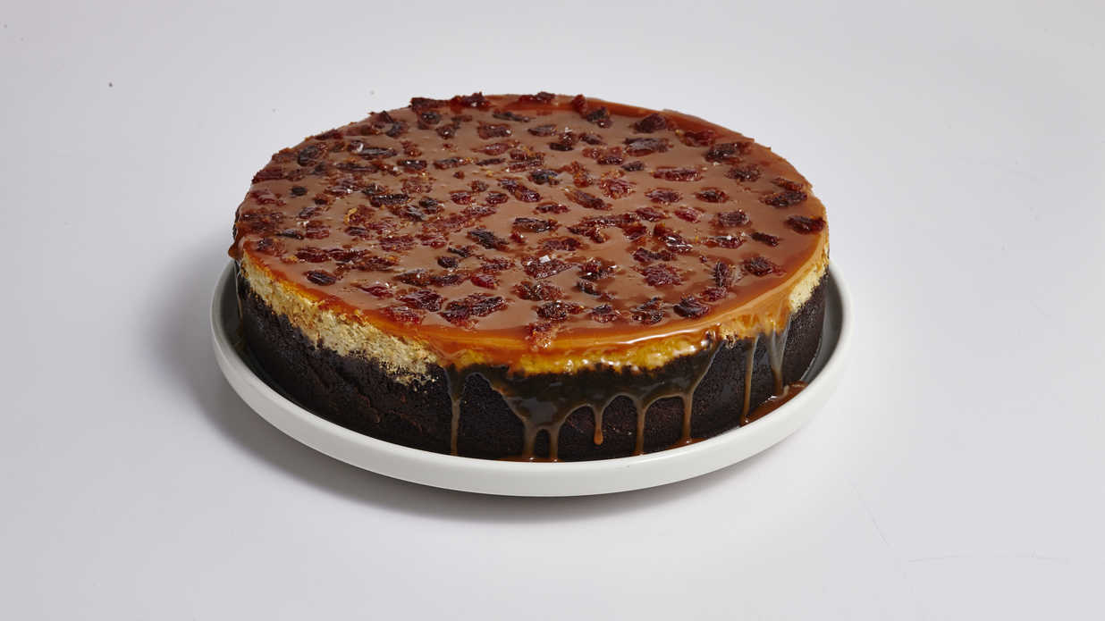 Peanut Butter and Banana Cheesecake with Candied Bacon Recipe