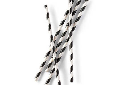 Striped Paper Straws in Black