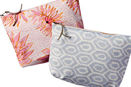 Dahlia and Grey Hexagon Cosmetic Pouches