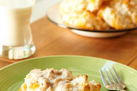 Cheddar Drop Biscuits with Sausage Gravy