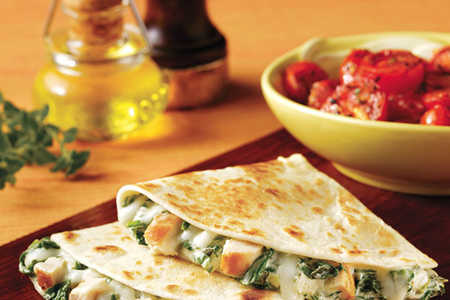 Chicken, Spinach & Artichoke Quesadillas