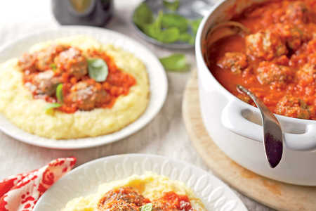 Meatballs with Tomato Ragu and Creamy Polenta
