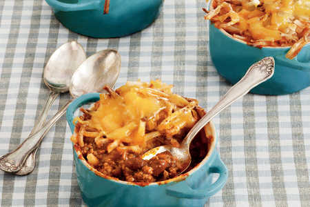Cheesy Chili Hash Brown Bake