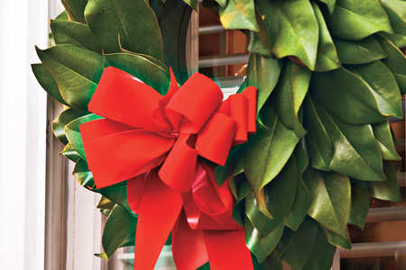 Making Magnolia Wreaths: Finish with Red Velvet Bow