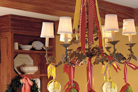 Ribbon and Mum Chandelier