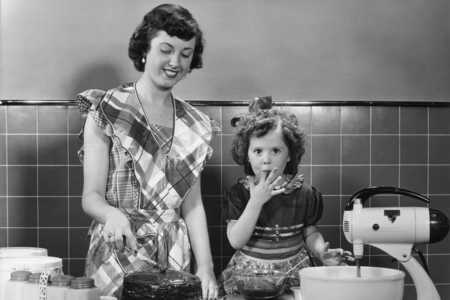 1950s Young Girl and Mother Baking