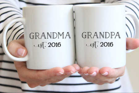 Personalizable Grandma and Grandpa Ceramic Mug Set